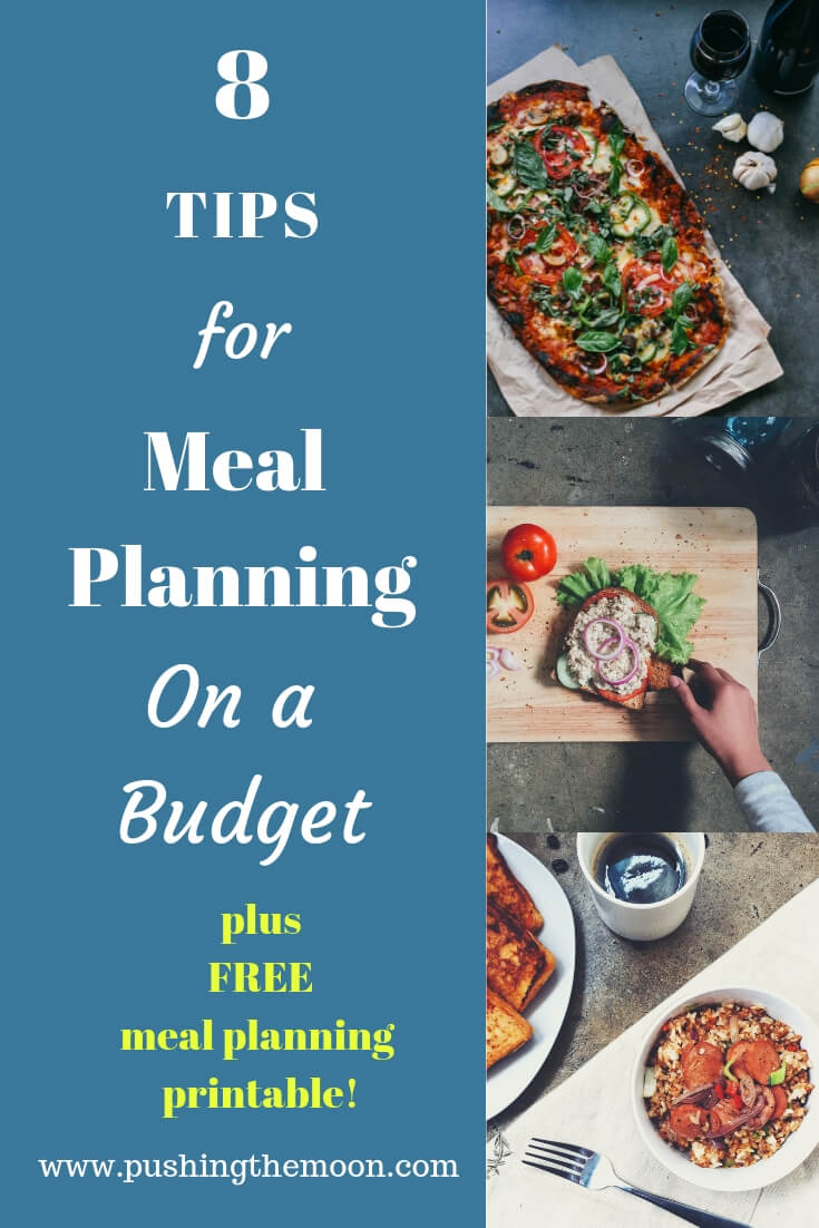 8 tips for meal planning on a budget. 8 handy tips to help with your weekly shop, plus a free meal planning printable!