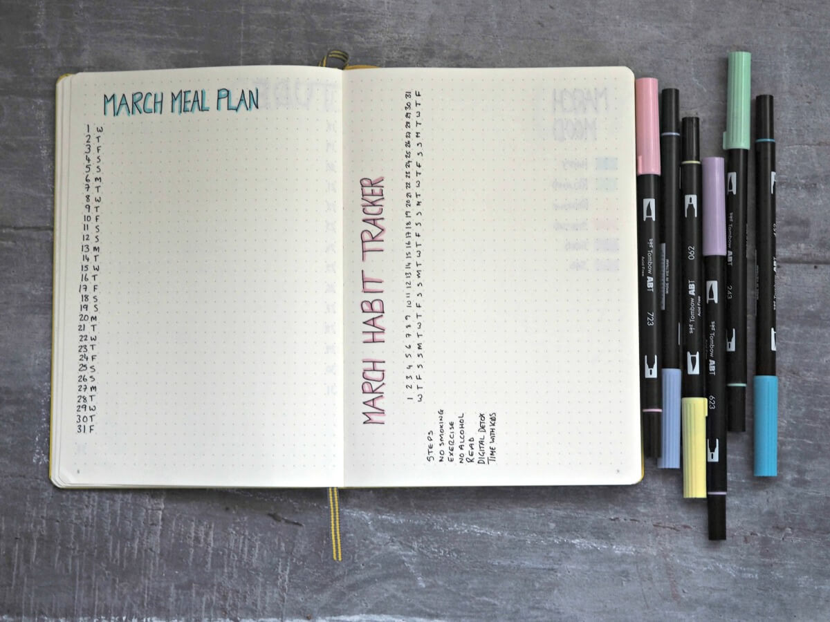 March-bullet-journal-set-up-meal-plan-and-habit-tracker-spreads