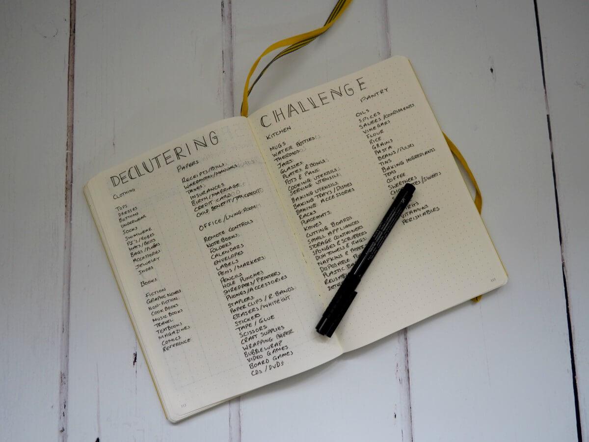 October Bullet Journal set up - decluttering challenge.