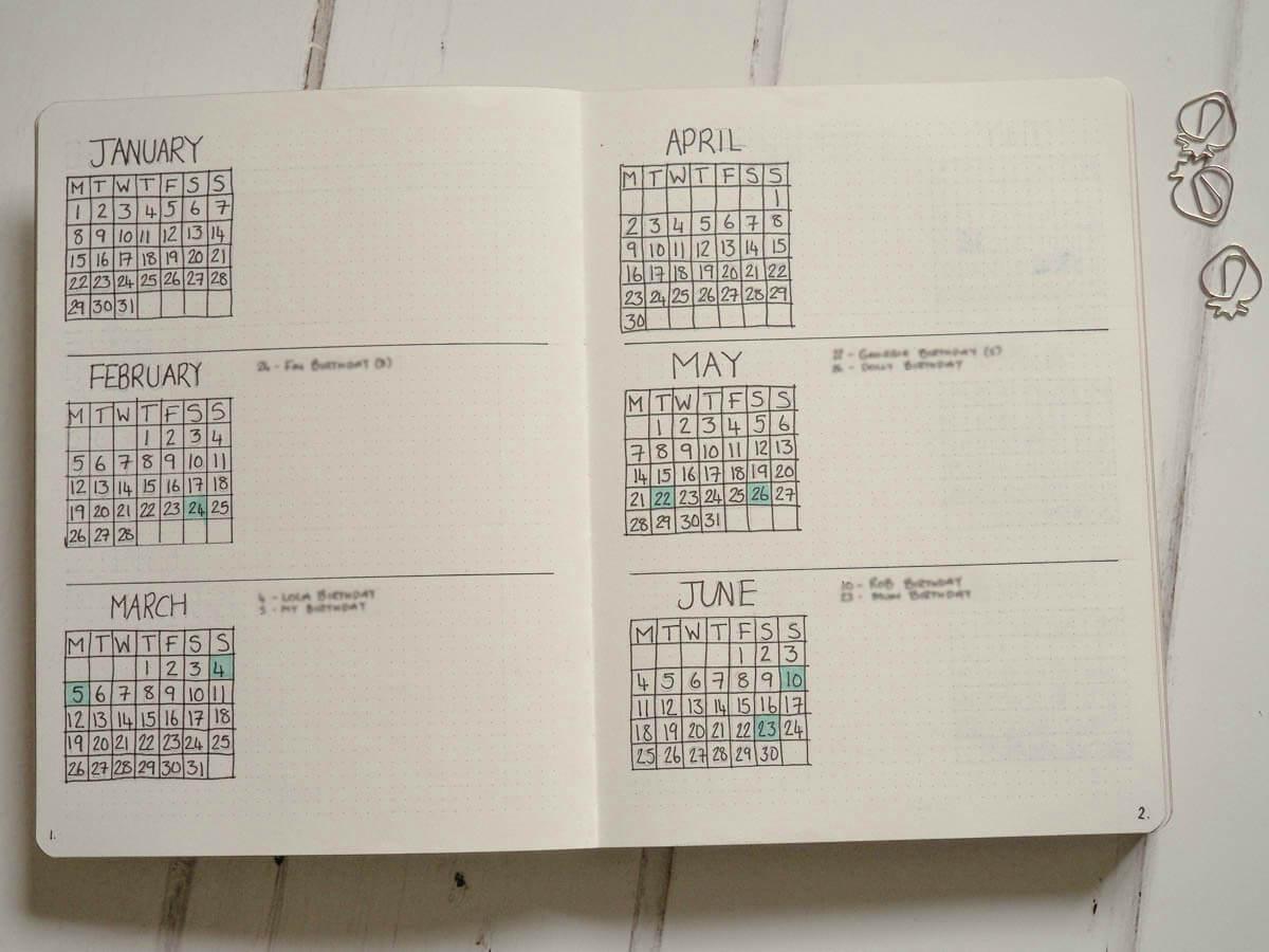 BUllet Journal set up for 2018 -Future Log