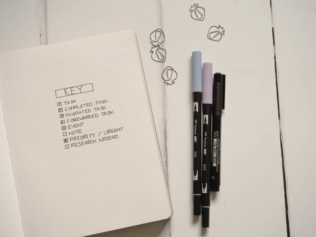 Bullet Journal set up for 2018 - Key