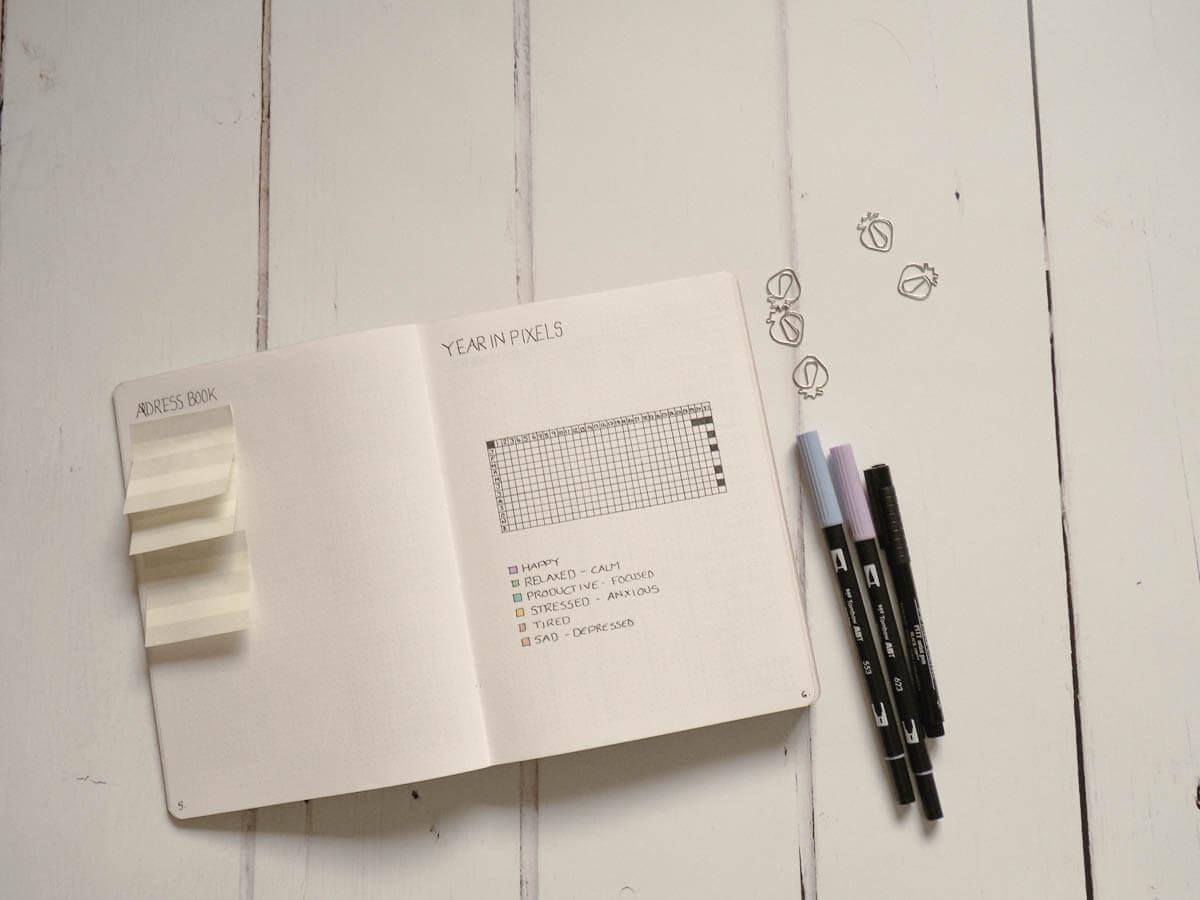 Bullet Journal set up for 2018 - Year in Pixels