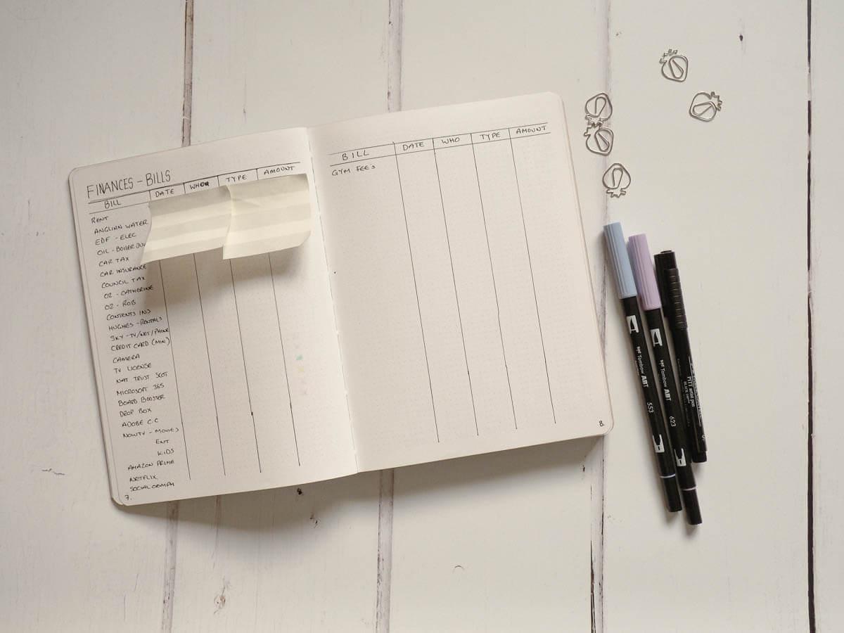 Bullet Journal Set up for 2018 - Finances Spread