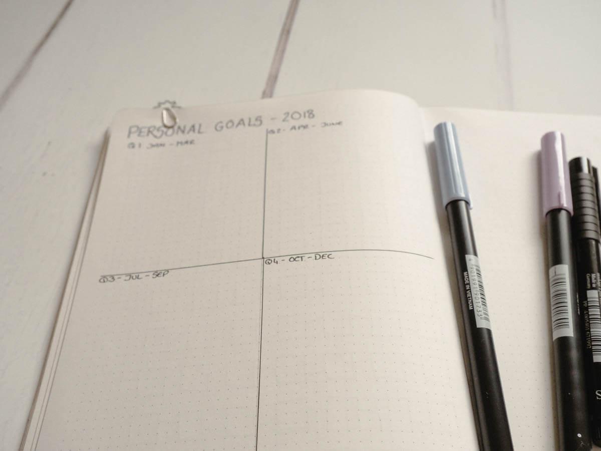 Bullet Journal set up for 2018 - personal goals