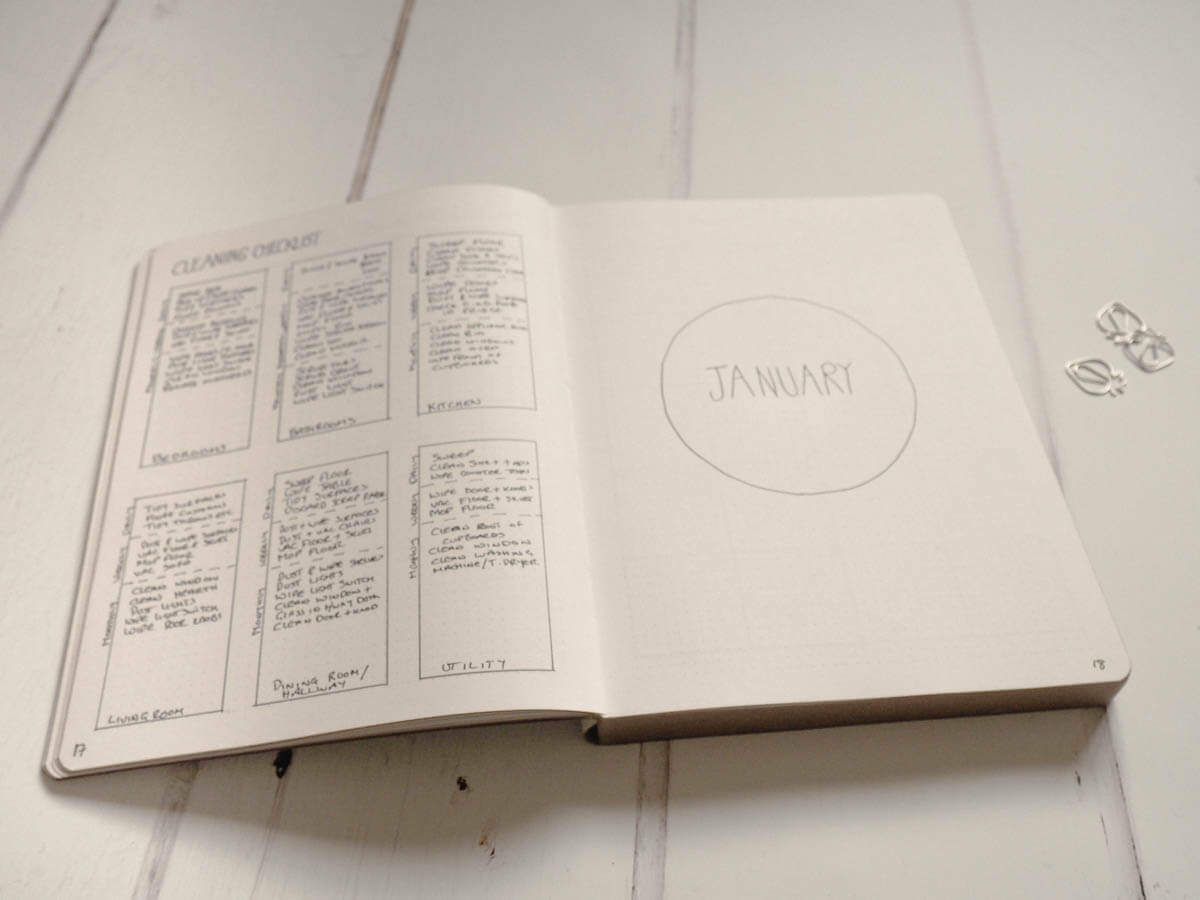Bullet Journal set up for 2018 - Cleaning List and January front page