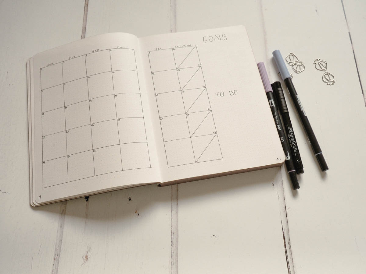 Bullet Journal Set up for 2018 - January Calendar