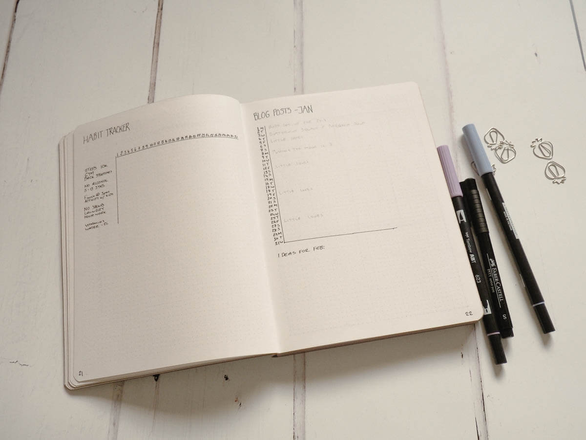 Bullet Journal Set up for 2018 -Habit tracker and Blog post schedule