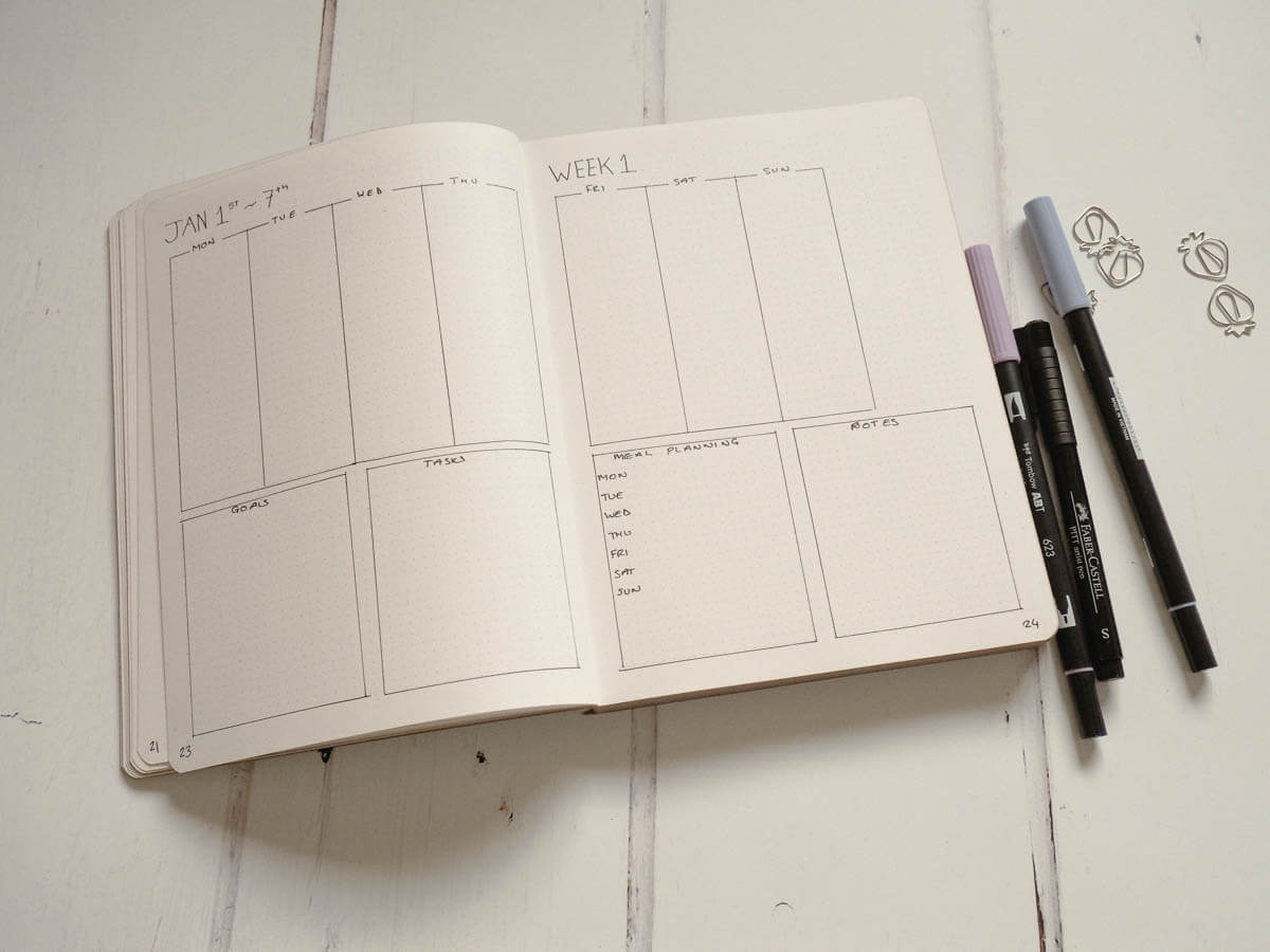 Bullet Journal Set up for 2018 - weekly spread