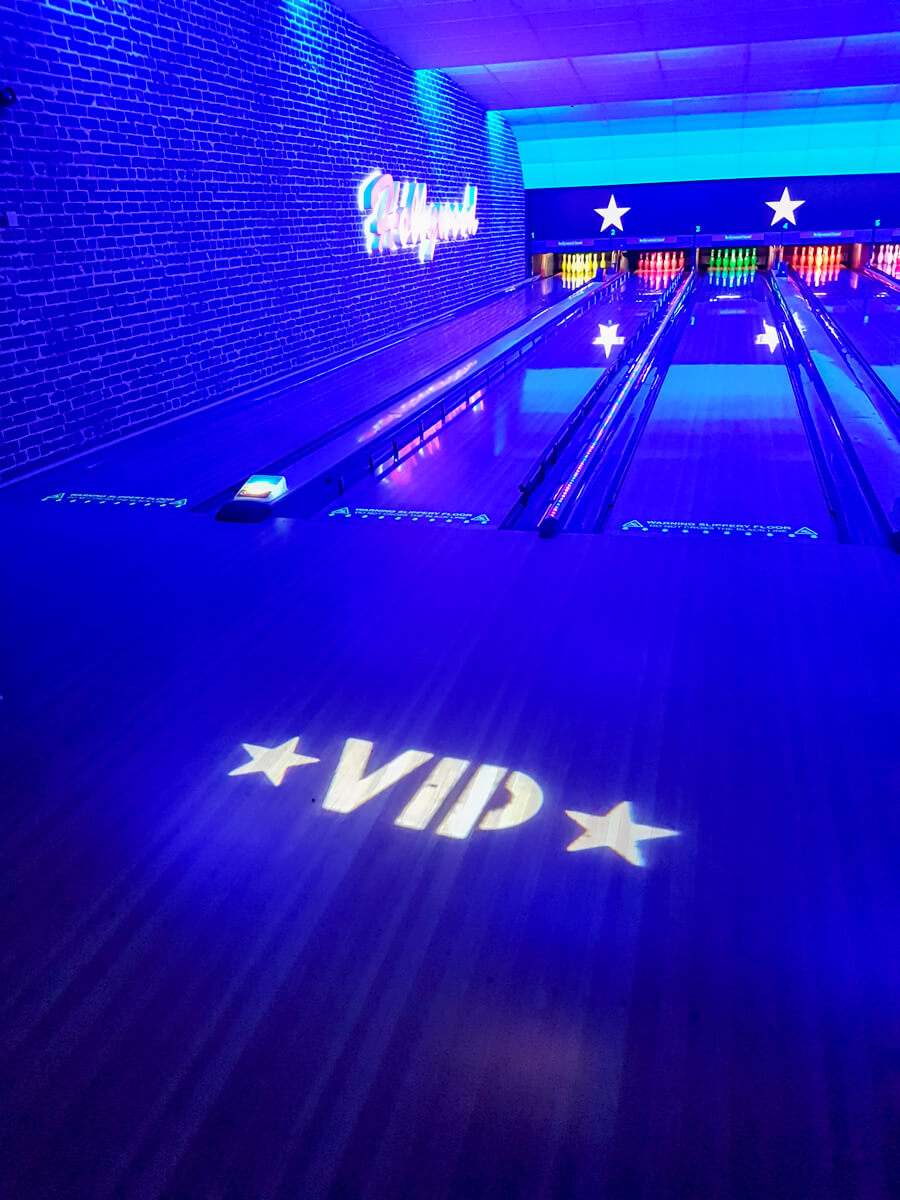 VIP Bowling at Hollywood Bowl - Ultra Violet Light and VIP Sign