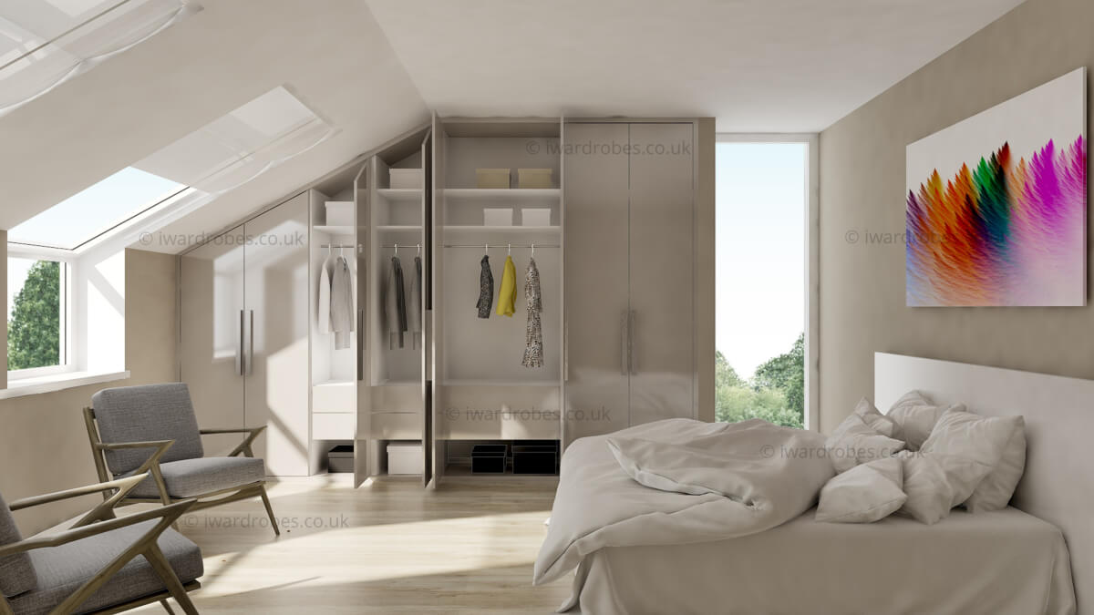 Fitted loft white wardrobe with hinged doors (002) - resized