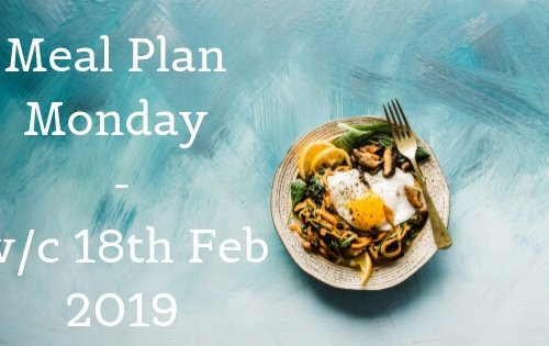 Meal Plan Monday - plate of food on blue background